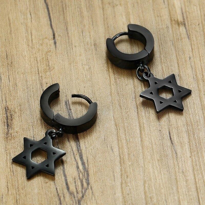 Boucles d'oreilles uniques en forme de cerceau hexagramme  4