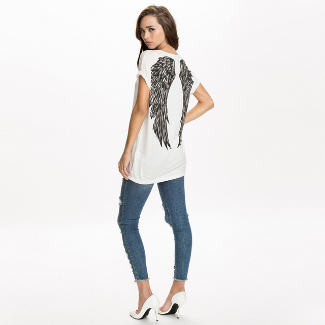 103ba1579a08e New spring summer T-shirts women unique angel wings back printing short  sleeve loose tshirt ladies girl t shirt G1072