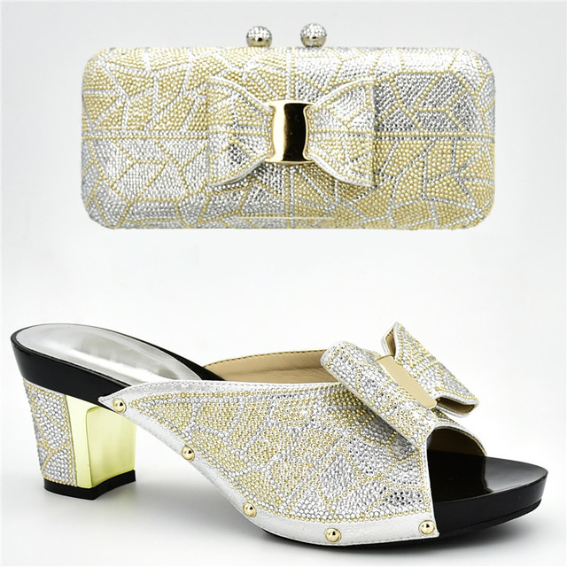 New Arrival Italian Shoes with Matching Bags for Wedding Italy Nigerian Women Wedding Shoe and Bag Set Decorated with Rhinestone