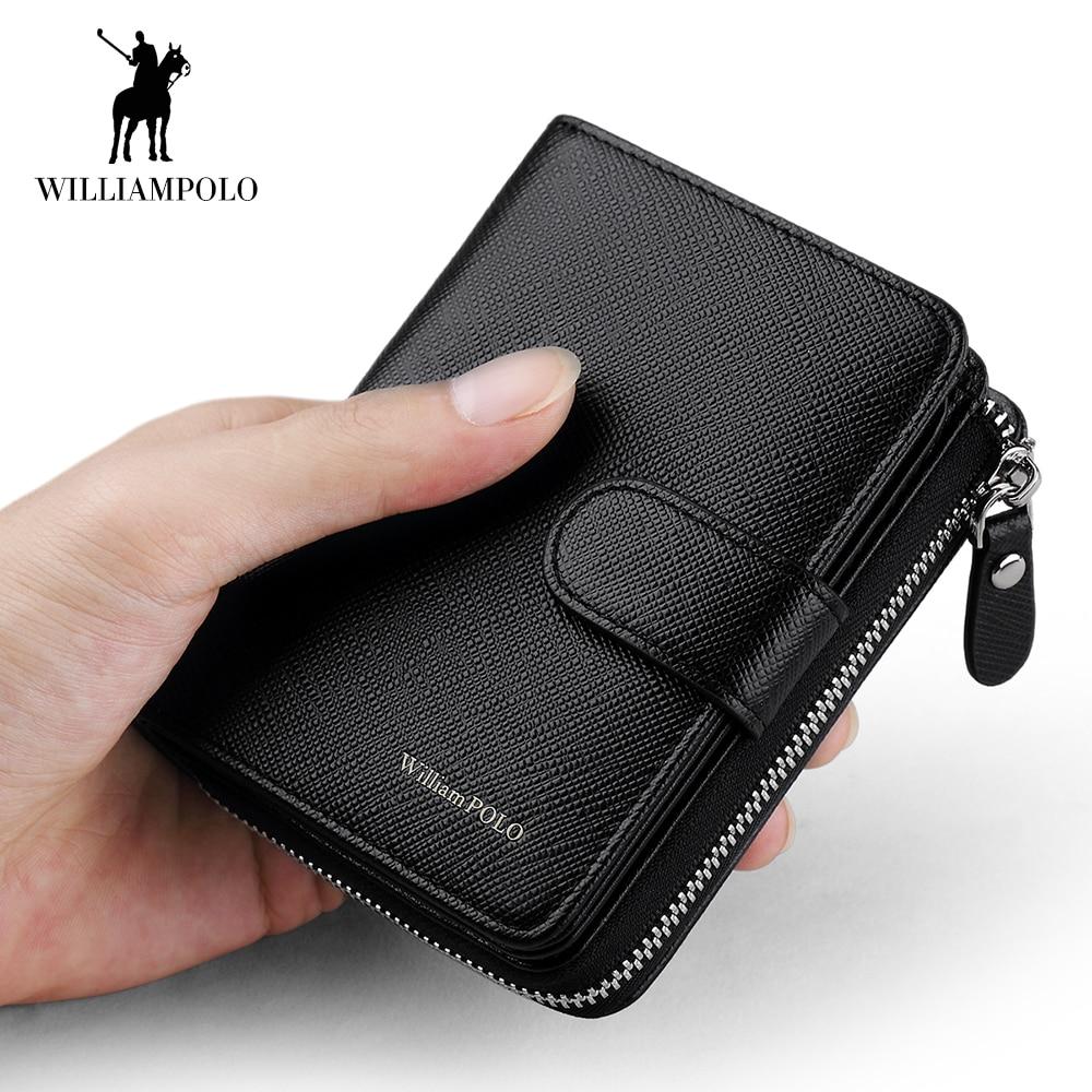 WilliamPOLO Men Wallet Short Accordion Credit Card Holder Purse Genuine Leather Multi Card Organizer Snap Fastener Zip Around