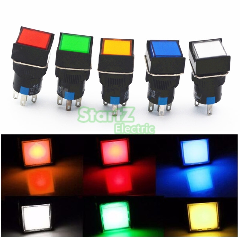 5Pcs DC 12V 16mm Push Button Self-Lock Latching Switch Square LED Light  DC24V AC110V AC220V