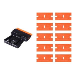 Image 4 - EHDIS nettoyage des vitres, racleur de rasoir + 10 pièces, outils de teinture à lames en plastique pour voiture, autocollant, élimination de la colle, enveloppe en vinyle