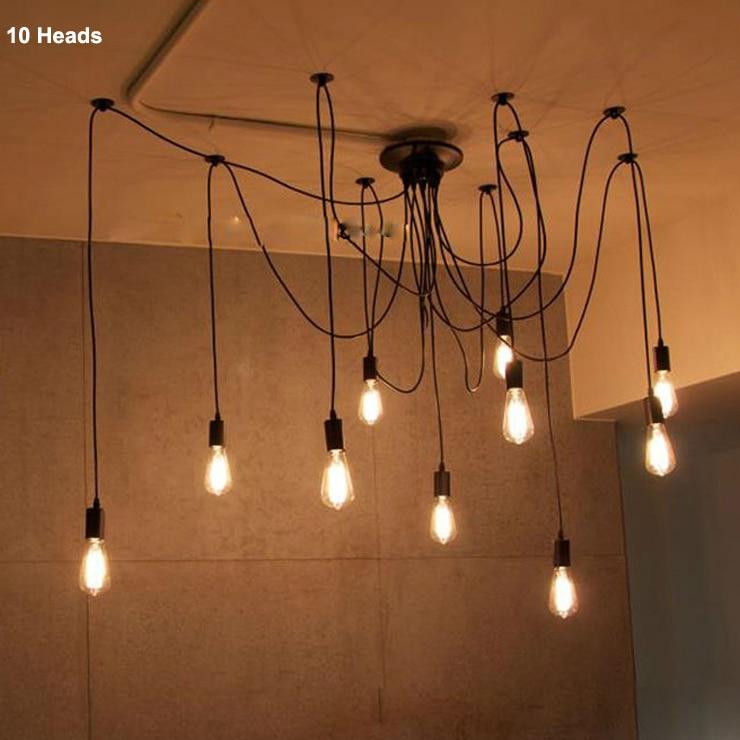 Mordern Nordic Retro Edison Bulb Light Chandelier Vintage Loft Antique Adjustable DIY E27 Art Spider Ceiling Lamp Fixture In Pendant Lights From