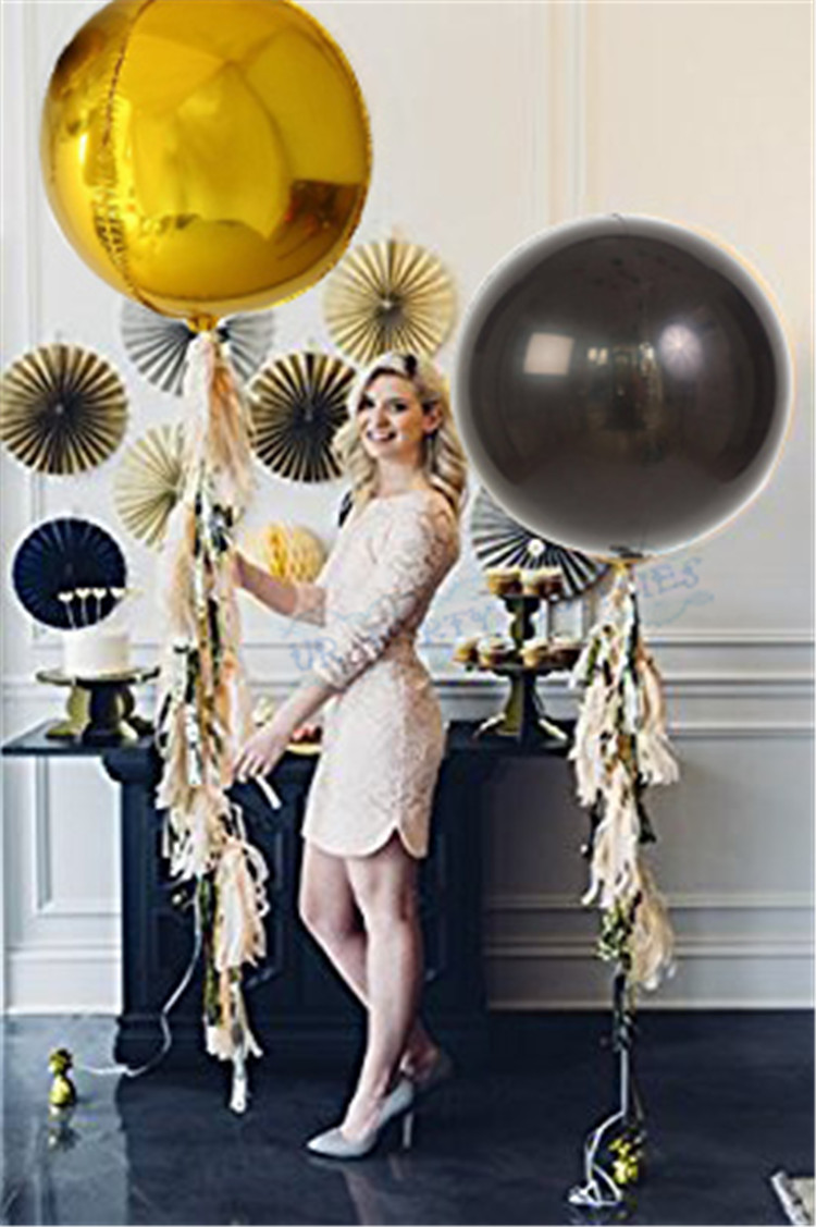 2 Sets Orb Gold Black Foil Sphere Balloon With Tassel