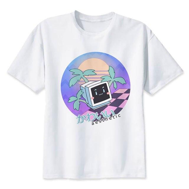 Vaporwave T-shirt männer Sommer mode Hohe Qualität t-shirt casual weiß druck Oansatz druck männlichen männer top tees M8163