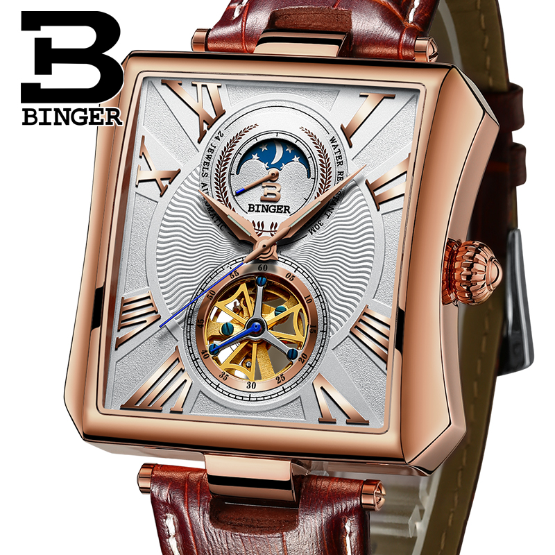 BINGER Top Brand Luxury Square Tourbillon Men Watches Automatic Mechanical Watch Roman Display Antique Clock Relogio Wrist Watch