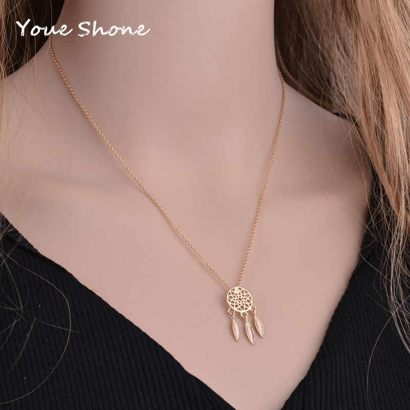 1PCS New dream catcher series Jewelry necklace Exquisite alloy hollow pendant necklace Popular chain collares For women