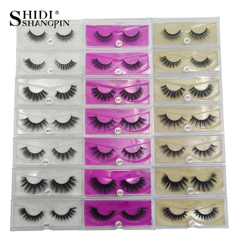 SHIDISHANGPIN 1 caixa de vison cílios natural longo 3d feitas à mão cílios postiços vison cílios tira completa lashes maquiagem cílios falsos