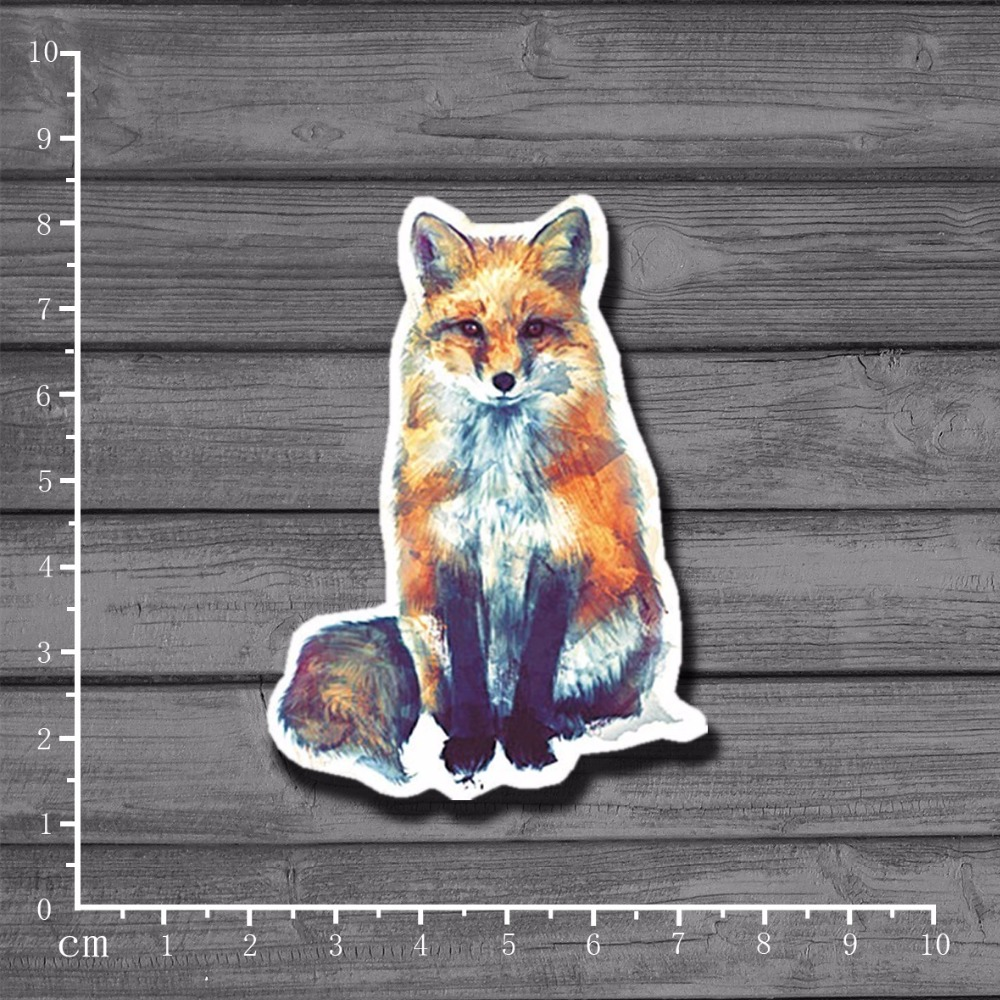Exclusive Lovely Hand-painted Fox On Notebook Sticker Car Styling Laptop Fridge Home Decor Decal For Kids Toys Stickers[Single]