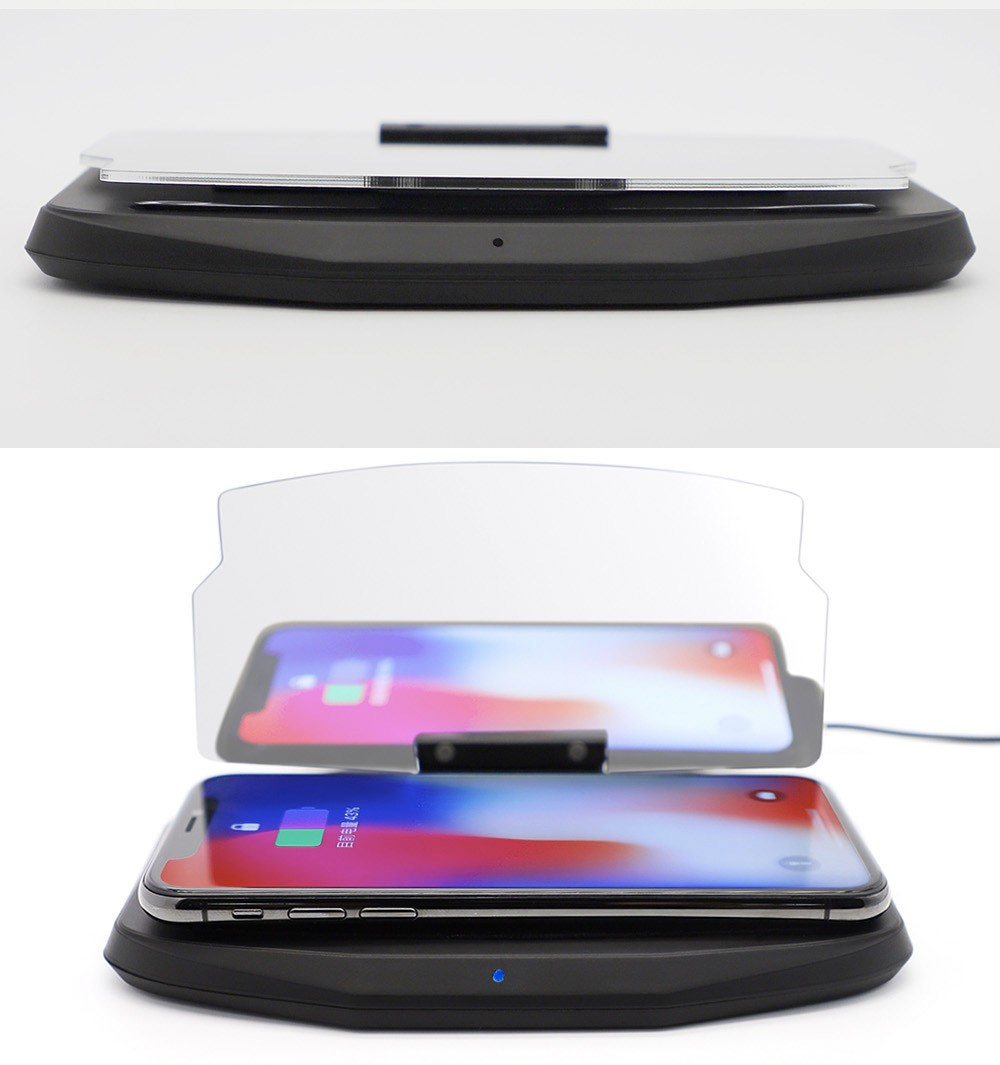 Car HUD Bracket Wireless Charger and Head UP Display Mobile Phone GPS Navigation Image Reflector Holder for iPhone X Samsung S9