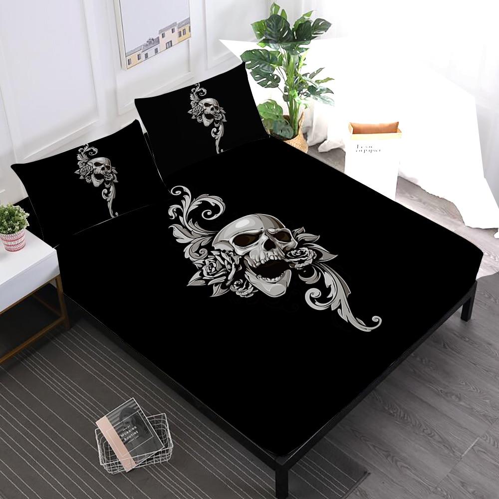 Halloween Sugar Skull Sheets Set Flowers Pistol Print Fitted Sheet Twin Full King Queen Bed Linens Pillowcase Mattress Cover D35