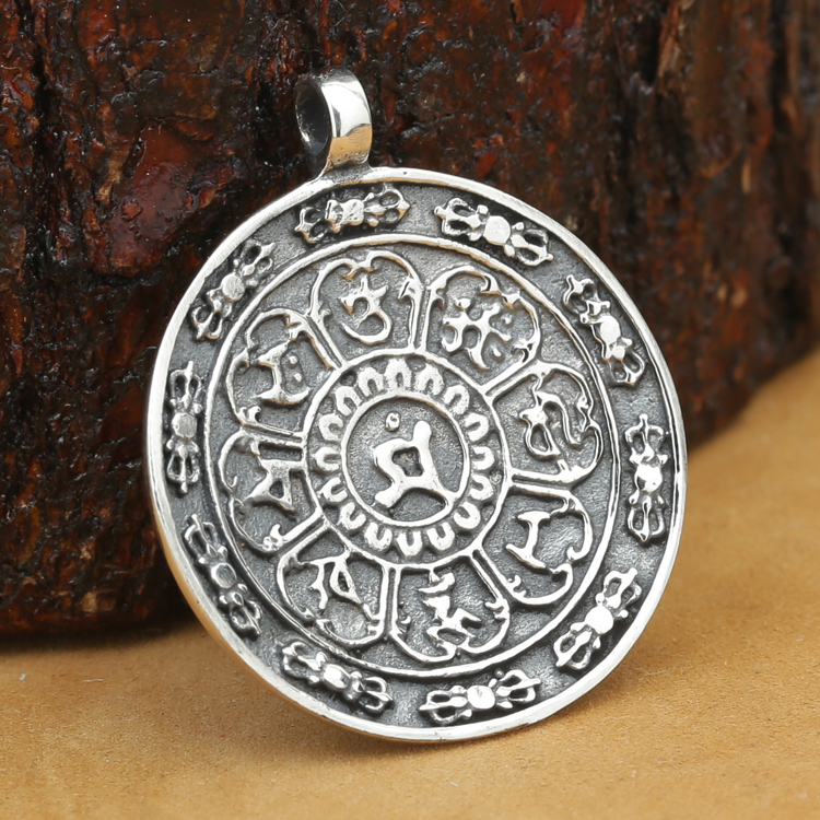 Beautiful Sterling silver 925 sterling Sterling Silver Antiqued Good Luck Icon Tag Pendant