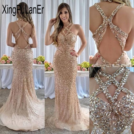 Sparking Backless Beaded Crystal Cross Cover Off The Shoulder Mermaid   Prom     Dresses   Robe de soriee Formal Evening Gowns