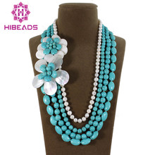 Fashion 4 Rows Stone Flower/Freshwater Pearls Necklace Handmade Stone Jewelry Free Shipping TN074