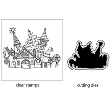 AZSG Brilliant Magic Castle Cutting Dies Clear Stamps For DIY Scrapbooking/Card Making Decorative Silicone Stamp Crafts