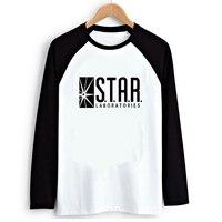 The Flash Star Lab Transfer Print Raglan Long Sleeve T Shirt Black White Raglaned Women Loose