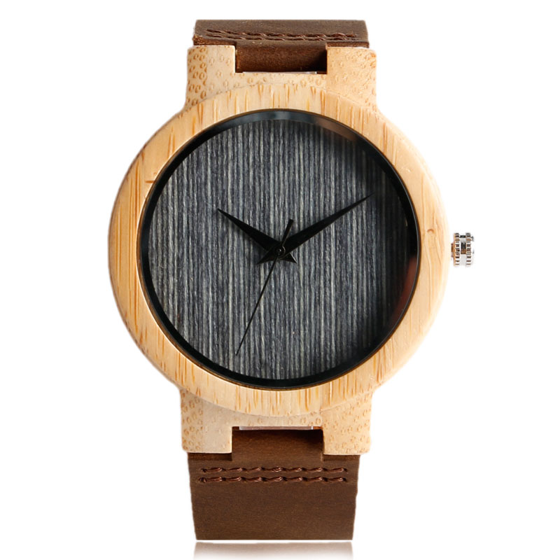 Fashion Cool Gray & Brown Dial Wood Watch with Genuine Leather Band Hand-made Nature Wooden Wristwatches for Men Women