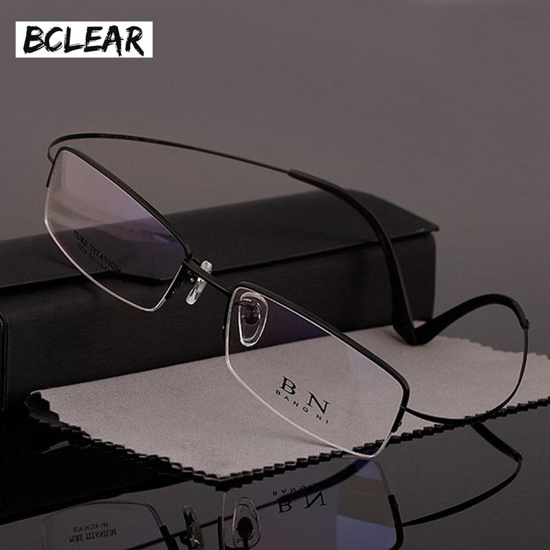 BCLEAR hommes affaires titane pur demi-cadre lunettes optiques ultra-léger confort B titane lunettes T9279