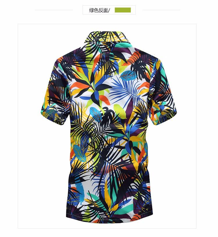 Mens Hawaiian Shirt Male Casual camisa masculina Printed Beach Shirts Short Sleeve brand clothing Free Shipping Asian Size 5XL 13