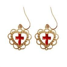 2017 fashion Luxuriant hollow out love palace restoring ancient ways cross earrings/ear  earrings wholesale women