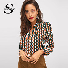 Sheinsid Elegant Print Shirt Long Sleeve V Neck Office Ladies Womens Tops And Blouse 2018 Autumn Multicolor Blouse Shirt(China)