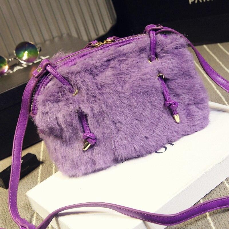 New Fashion Brand Designer Plush PU Leather Shoulder Bags High Quality Women Shell Fur Crossbody Bag