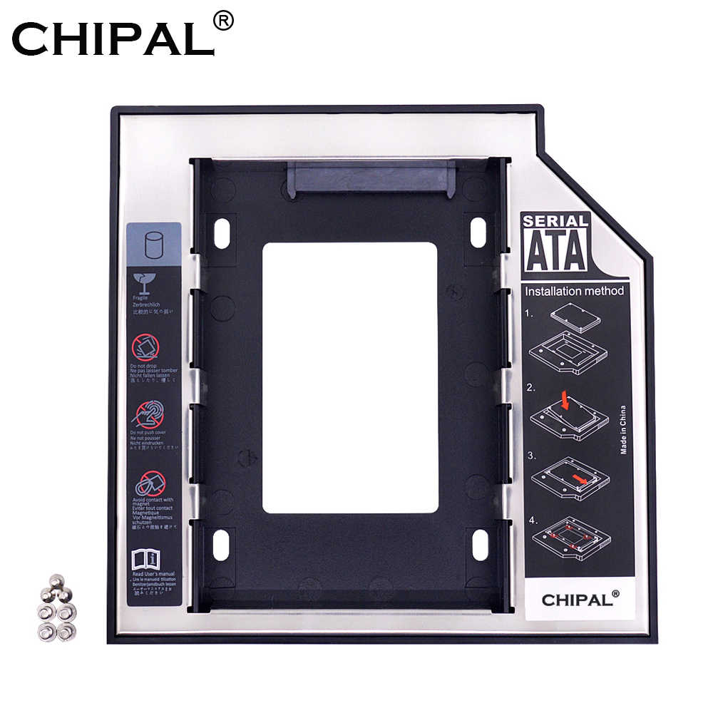 "Chipal 2nd HDD Caddy 12.7 Mm untuk 2.5 ""2 TB SATA 3.0 SSD Case Hard Disk Drive Kandang Kotak + LED untuk Laptop CD-ROM DVD-ROM Optibay"