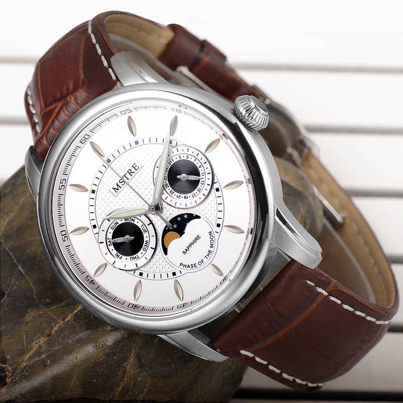 brand forsining product top movement moon shanghai rose strap genuine brown gold phase watches lunar leather mens case
