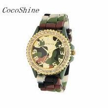 CocoShine A-733 Silicone Camuflagem Verde de Cerâmica Banda Relógio de Pulso de Cristal Moldura