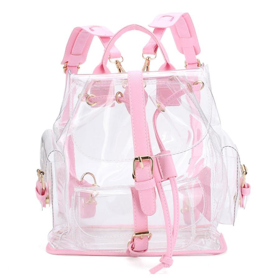 Womens Backpack Clear Plastic See Through Security Transparent Backpack Bag Ladies Travel Bag Ladies Bag mochila feminina
