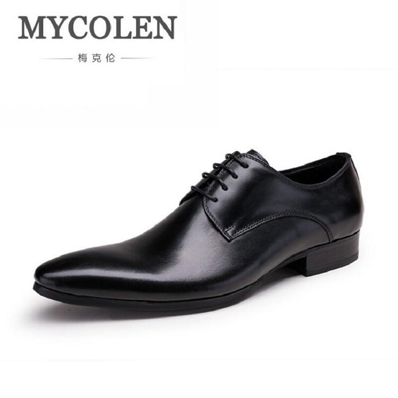 MYCOLEN Wedding Men's Dress Shoes Genuine Leather Black Formal Male Shoes Business Pointed Toe Mens Leather Shoes schoenen top quality crocodile grain black oxfords mens dress shoes genuine leather business shoes mens formal wedding shoes