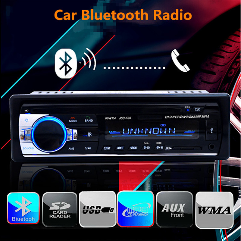 JSD 520 Bluetooth Car Radio Stereo MP3 Player Wireless Audio Adapter 3.5mm AUX-IN FM U Disk Playing 1 Din With Remote Control