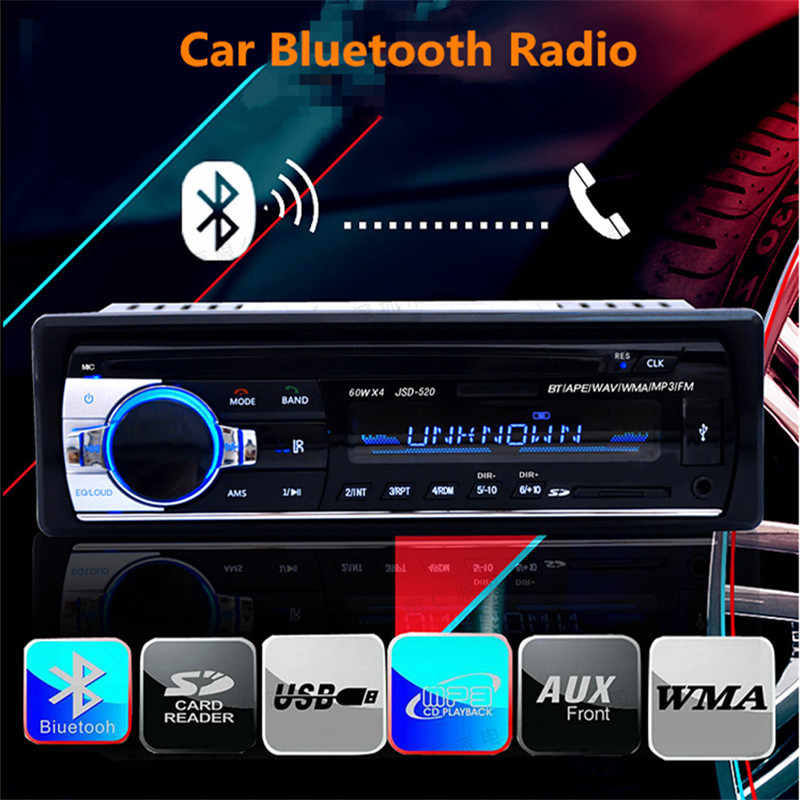 JSD 520 Bluetooth coche Radio Estéreo reproductor MP3 adaptador de Audio inalámbrico 3,5mm AUX-IN FM U disco de reproducción 1 Din con control remoto