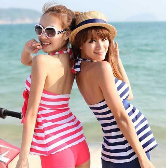 2014 summer HOT sexy Tankinis Women Swimwear stripe beach wear set  4 colors fashion style free shipping