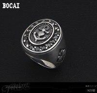 925 Серебряный винтажный Модный Крест, оформленный цветами тайское серебряное кольцо