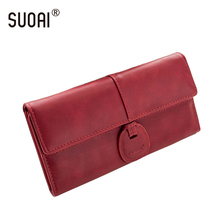 SUOAI Women Wallet Fashion Pu Leather Long Purse Female Hasp Wallets And Purses