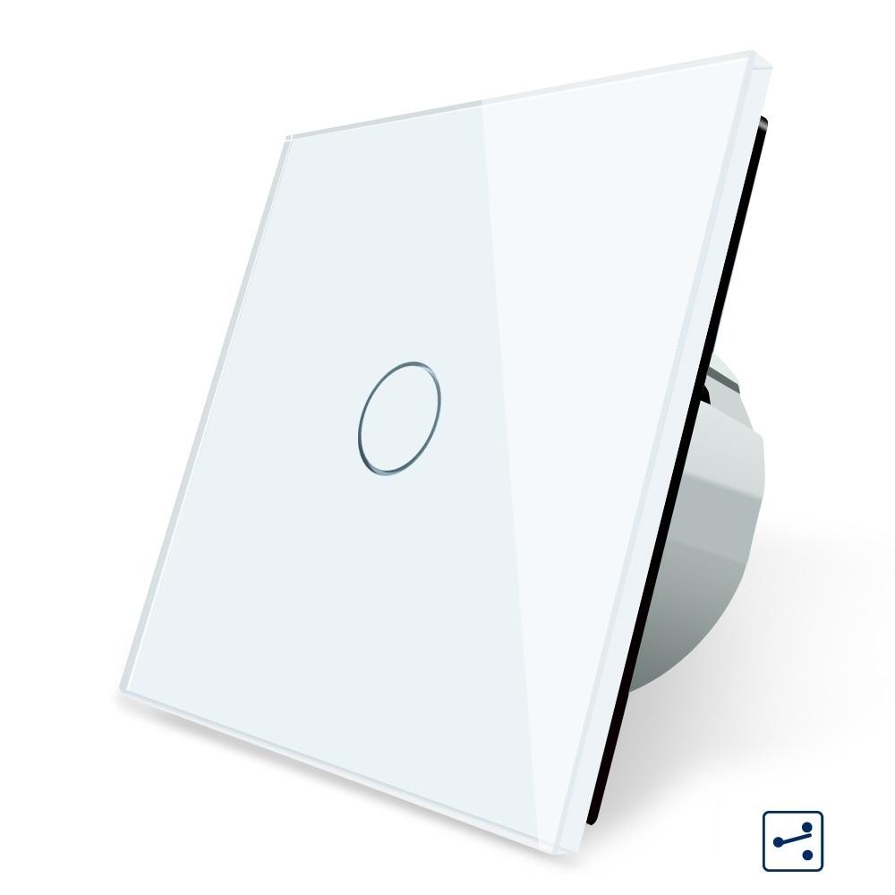 2019 Smart Home EU Standard, interrupteur mural, 1 Gang 2 voies de contrôle, panneau en verre cristal, interrupteur d'écran tactile de lumière murale