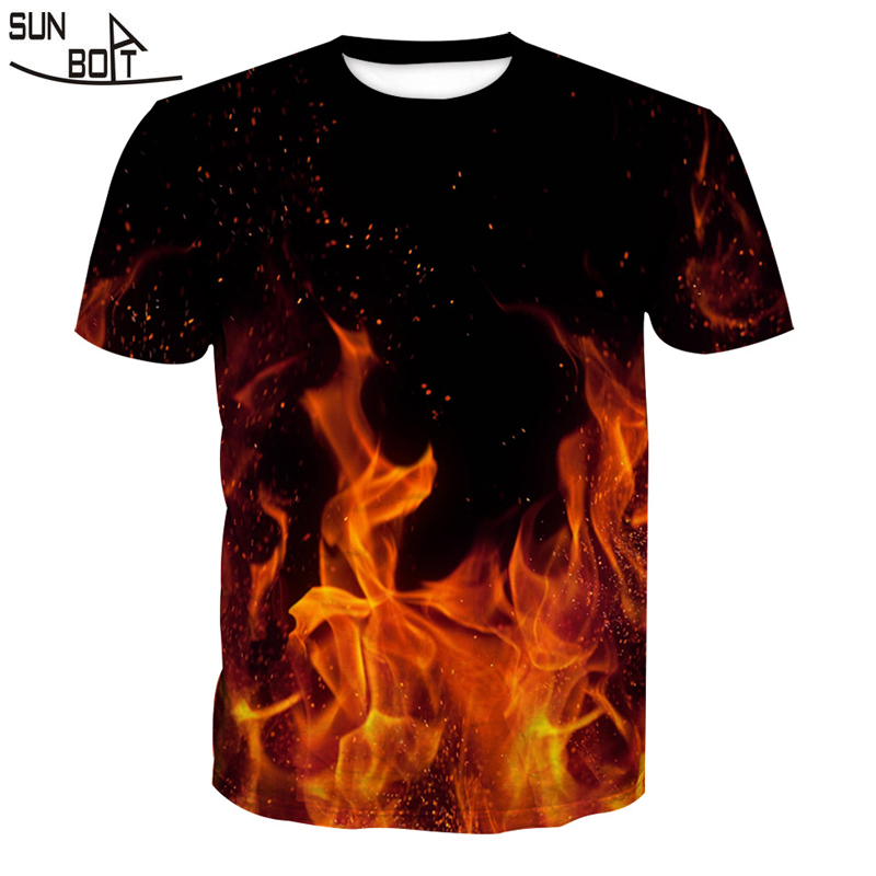 Sunboat 2018 Quality Men T Shirts 3D Printed Burning Flame Casual Anime Tees Men T Shirts Homme Outwear Plus Size Summer Tops