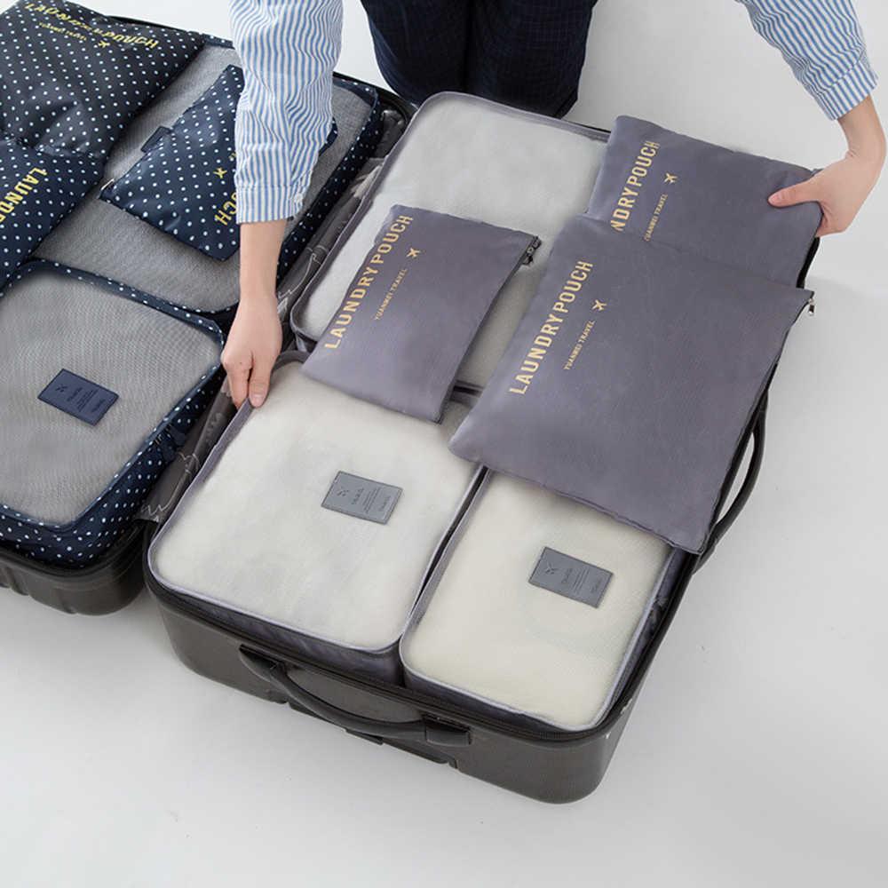 6 pçs/set Sapatos de Viagem Organizador Saco De Armazenamento De Roupas À Prova D' Água Nylon Roupa Interior Roupa Mala Bolsa Recipiente Portátil
