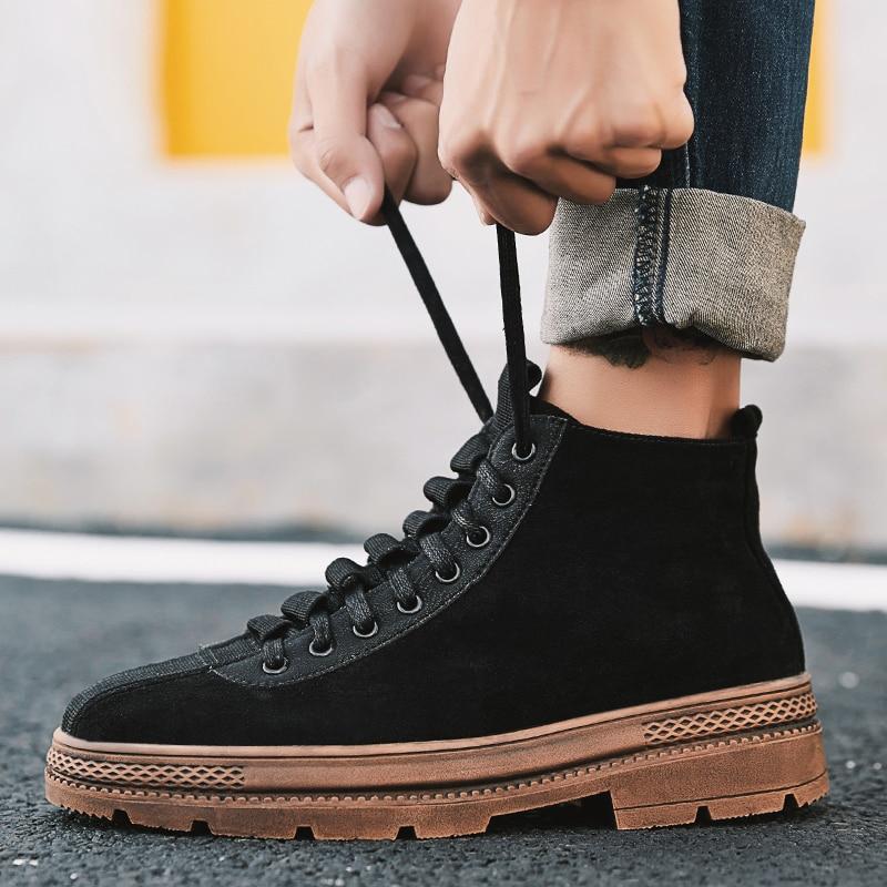 2019 Mode Männer Arbeiten Schuhe Vintage Handgemachte Casual Schuhe Mode Turnschuhe Marke Hohe Qualität Spitze-up Trend Lokomotive Schuhe Zapatos Hombre Volumen Groß
