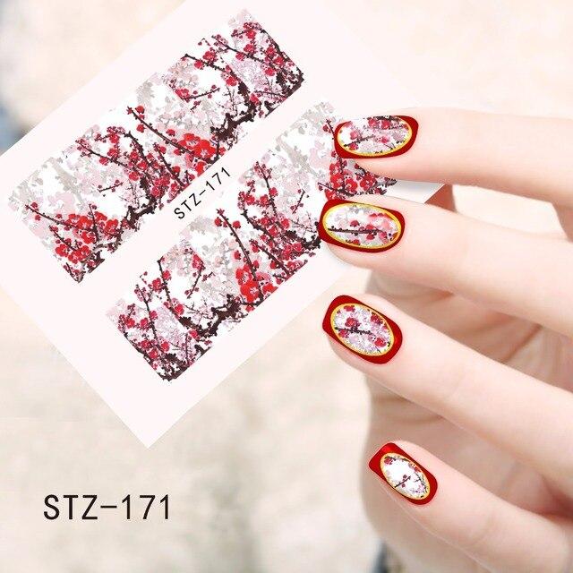 1pcs Nail Art Sticker Hot Designs Winter Flower Blossom Hot Pink