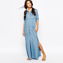 LIENZY Summer Style 100 Cotton Long Denim Dress Long Sleeve Polo Neck Loose Ladies Shirts Maxi