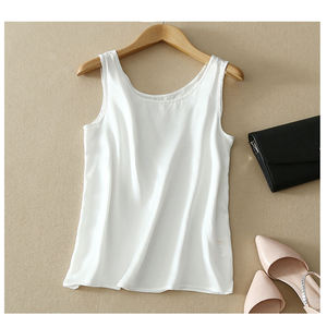 Image 4 - 2018 100% Pure Silk Summer tank top Fashion Women Blouse Sleeveless Soft Plain Vest Basic T shirts Great Quality Casual Camisole