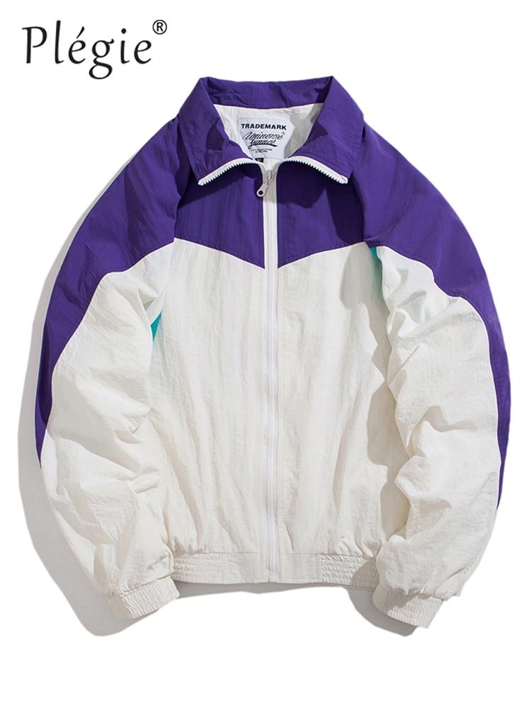 Plegie 2019 printemps Hip Hop coupe-vent hommes veste unisexe couleur bloc Patchwork vestes Vintage Zipper Couple vestes Streetwear