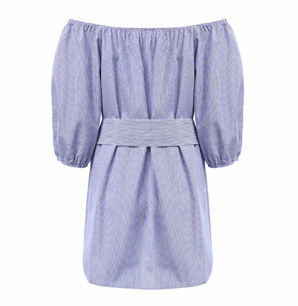 VESTLINDA Off Shoulder Blue Striped White Applique Mini Dress Women Slash Neck Lantern Sleeve Casual Sexy Short Dress With Belt