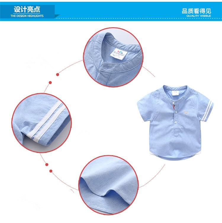 Kids Birthday Gift Clothes 2018 Summer Fashion Cotton White Blue Color Cartoon Dog Print Short Sleeve Mandarin Collar Boys Shirt (5)