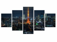 Hot Sales Framed 5 Panels Picture City night HD Canvas Print Painting Artwork Wall Art painting Wholesale/XC-City-137
