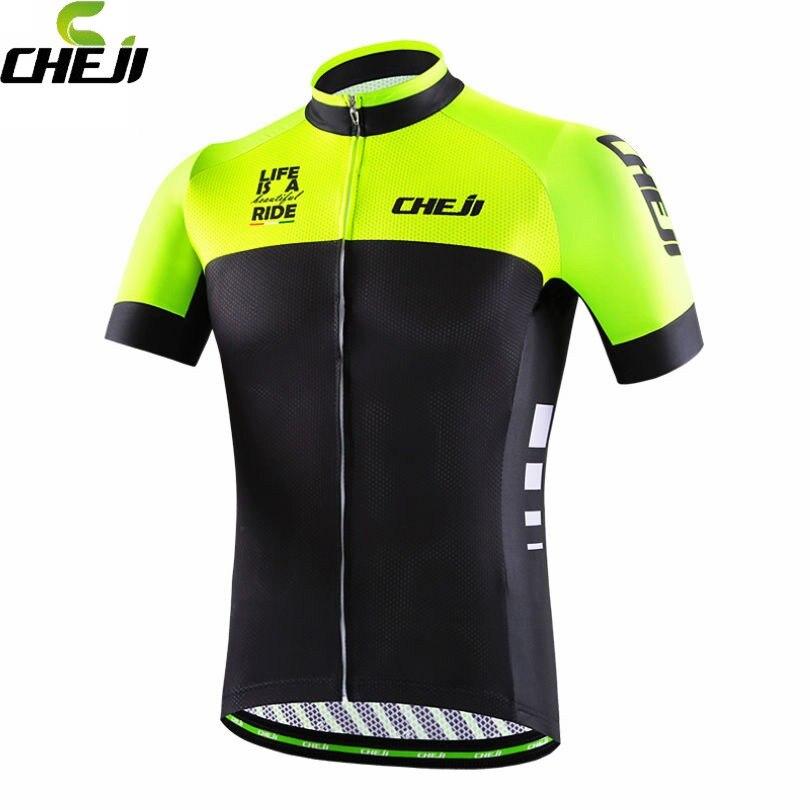 Prix pour CHEJI Équipe Manches Courtes Mens Wear Maillot Cyclisme Ropa Ciclismo Vélo Vêtements T-shirt Vélo Tops Noir-Vert