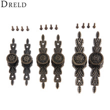 DRELD 2pcs Antique European Flower Furniture Handle Drawer Wardrobe Kitchen Door Pull Knobs Wooden Box Handles With Screws Alloy