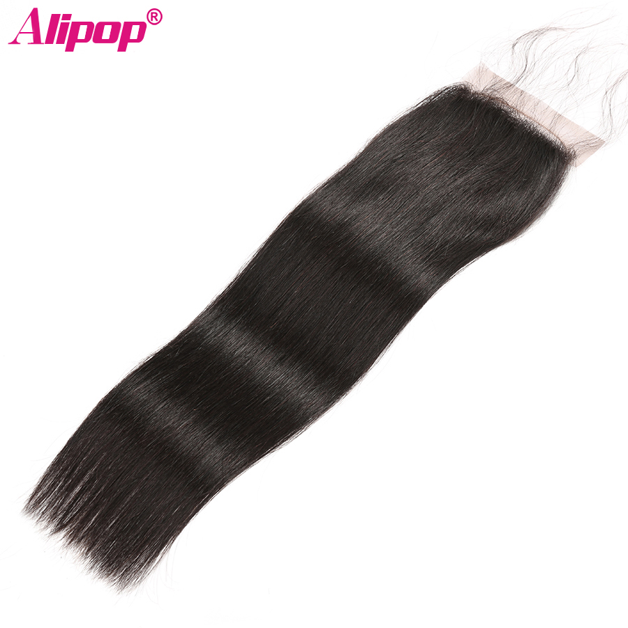 Peruvian Straight Closure 100% Remy Human Hair Lace Closure Top Swiss Lace Closure Free Middle Three Part Natural Color ALIPOP